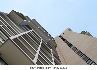 Perspective of a building, sky background.