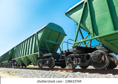 Perspective of the bulk carriages over the blue sky background