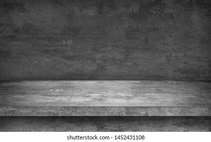 perspective cement floor or concrete shelf table, isolated on a white backgrounds for interior display products and web page . studio room gradient background