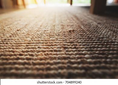 perspective close-up beige carpet texture floor of living room