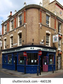 A perspective corrected exterior shot of a famous old London pub, the Bricklayer's Arms, in Shoreditch, central london, taken in 2005