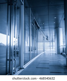Perspective of corridor at the modern office building
