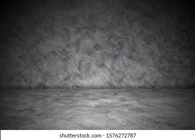 Perspective Dark cement floor or concrete for interior display products and web page . studio room gradient background