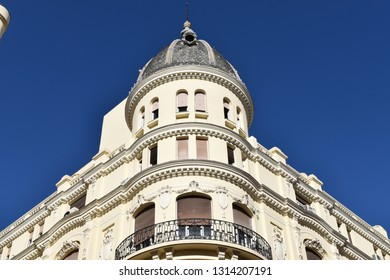Perspective of a facade and Frenchified mansard in an apartament building in the historic center of Madrid, Spain