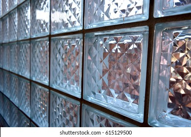 perspective glass bricks wall.