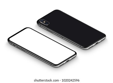 Perspective isometric black smartphone mockup with shadow. Frameless smartphone front side with blank white screen and back side lying on surface. Isolated on white background. 3D illustration.
