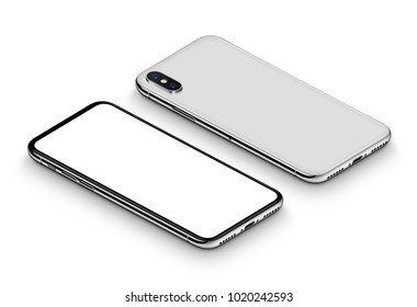 Perspective isometric white smartphone mockup with shadow. Frameless smartphone front side with blank white screen and back side lying on surface. Isolated on white background. 3D illustration.