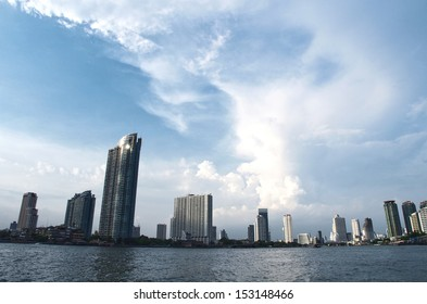 Perspective of Jaopraya riverfront, Thailand