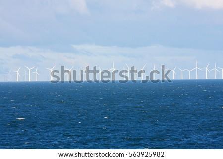 Perspective Line Ocean Wind Mills Dark Stock Photo (Edit Now