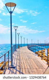 Perspective of promenade over the sea in Limassol, Cyprus