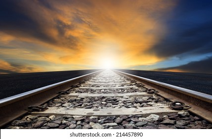 perspective of rail way against beautiful dusky sky use for land transportation and transport industry