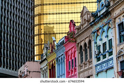 The perspective shot of the British colonial architecture building facades against modern building facades in Kuala Lumpur, Malaysia