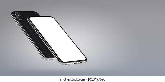 Perspective smartphone mockup banner with copyspace. Perspective smartphones mockup front and back side. New modern black frameless smartphones with blank white screen and back side. 3D illustration.