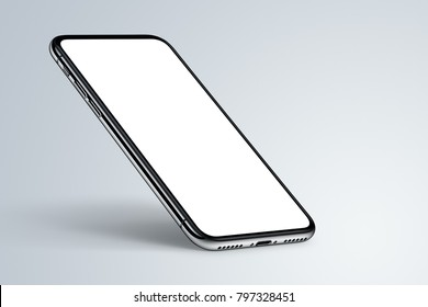 Perspective smartphone mockup on dark background. Isometric smartphone mockup with shadow. High-quality realistic 3D illustration.