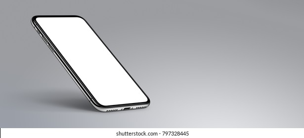 Perspective smartphone mockup on gray background. Isometric smartphone mockup with shadow. Smartphone banner with copy space. High-quality realistic 3D illustration.
