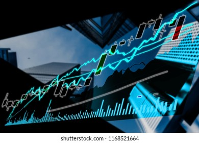 Perspective stock market index with modern building in background