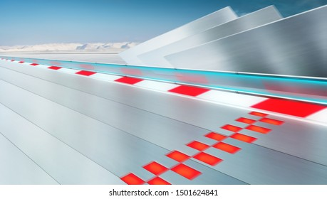 Perspective and straight car metal race track with finish line in motion , winter background and futuristic visual design for modern car background .