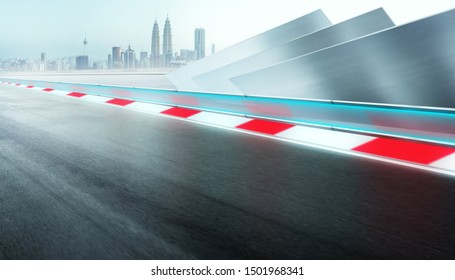 Perspective and straight race track in motion , city background and futuristic steel decoration design for modern car background .