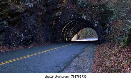 Perspective Street Photo of a Empty Tunnel Road on the Mountain Side.