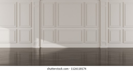 Perspective of the sun light cast the shadow on white empty room and dark laminate wood floor,classic interior style.blank space architecture.