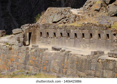 Perspective of the ten trapezoidal windows in the ruins of Ollantaytambo in Cusco-PERU