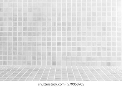 Perspective tiles floor deck overlook the white tile background. Services include product display  template
