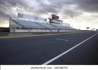 Perspective of tribune and straight in Jarama Racetrack, Madrid, Spain. Jarama racetrack.
