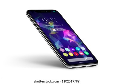 Perspective veiw smartphone with material design flat UI interface with shadow. Mobile apps icons home screen on the display. Android phone concept. Isolated on white background. 3D illustration.