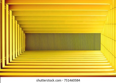 Perspective view of abstract modern ceiling with strong geometry and symmetry as background with space for copy