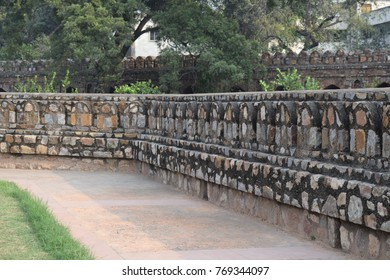 Perspective view of ancient building's wall. Beautiful old wall texture.