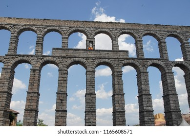 Perspective view of the aqueduct of Segovia, Spain