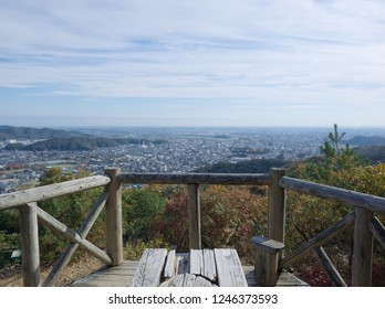 A perspective view for Ashikaga city from Maruta-miharashidai on the way to the ruins of Ashikaga castle on Mount Ryogai at Ashikaga in Tochigi, Japan on the day of the winter opening in 2018.