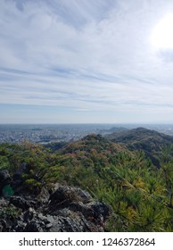 A perspective view for Ashikaga city from the way to the ruins of Ashikaga castle on Mount Ryogai at Ashikaga in Tochigi, Japan on the day of the winter opening in 2018.