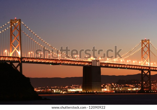 Perspective view of the Bay bridge in San Francisco.
