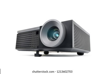 Perspective view of black LCD Projector video presentation and home Entertainment isolated on white background with clipping path
