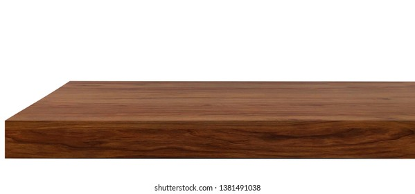 Perspective view of brown wood or wooden table or shelf corner on white background including clipping path