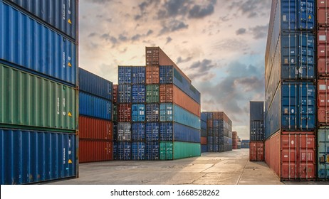 perspective view of containers at containers yard with forklift and truck