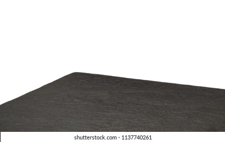 Perspective view of dark stone or black granite table corner on white background with clipping path