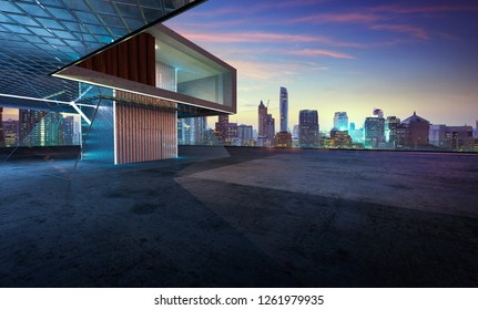 Perspective view of empty cement floor with steel and glass modern building exterior . 3D rendering and real images mixed media