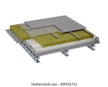 A perspective view of a flat roof insulation