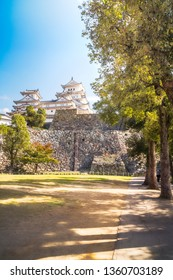 Perspective View of Himeji Castle with large sunlit trees on the Castle complex park grounds. Himeji Castle is considered most beautiful castle in Japan and the prototype of Japanese architecture.