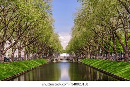 Perspective view of the historic avenue Koenigsallee (King's Avenue), Dusseldorf, Germany