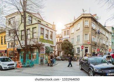 A perspective view of historic buildings in Kuzguncuk. Kuzguncuk is a neighborhood in the Uskudar district in Istanbul, Turkey 2019.