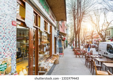 A perspective view of a historic street in Kuzguncuk. Kuzguncuk is a neighborhood in the Uskudar district in Istanbul, Turkey 2019.