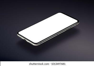Perspective view isometric smartphone mockup with white screen hovers over a dark black surface. 3D illustration.