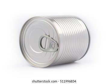Perspective view of metal can industrial packaging with opener on white background