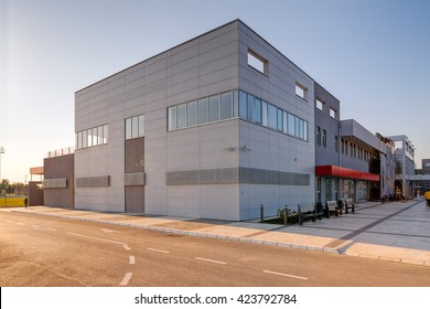 Perspective view of modern and contemporary building in exterior