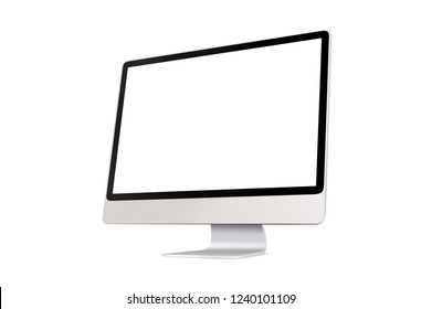 Perspective view of Modern slim desktop computer with blank screen, aluminum material, isolated on white background with clipping path.
