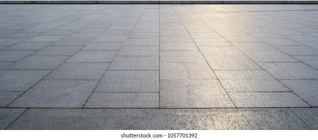 Perspective View of Monotone Gray Brick Stone on The Ground for Street Road. Sidewalk, Driveway, Pavers, Pavement in Vintage Design Flooring Square Pattern Texture Background - Shutterstock ID 1057701392