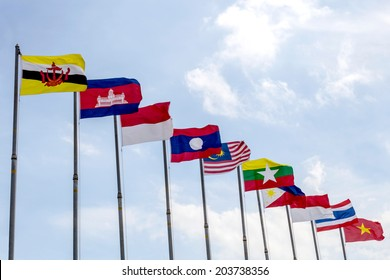 perspective view of national flags of Southeast asia countries, AEC, ASEAN Economic Community